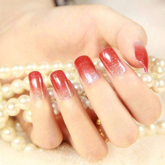 Minx uñas pegatina foil transferencia gradiente rojo y plata diseños ...