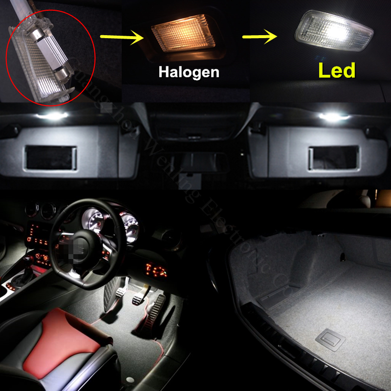 WLJH 4pcs 12V 24V CANBUS Led Light 31mm DE3175 DE3022 5W SMD Car Interior Light Dome Map Vanity Mirror Reading Lamp Cargo Bulb