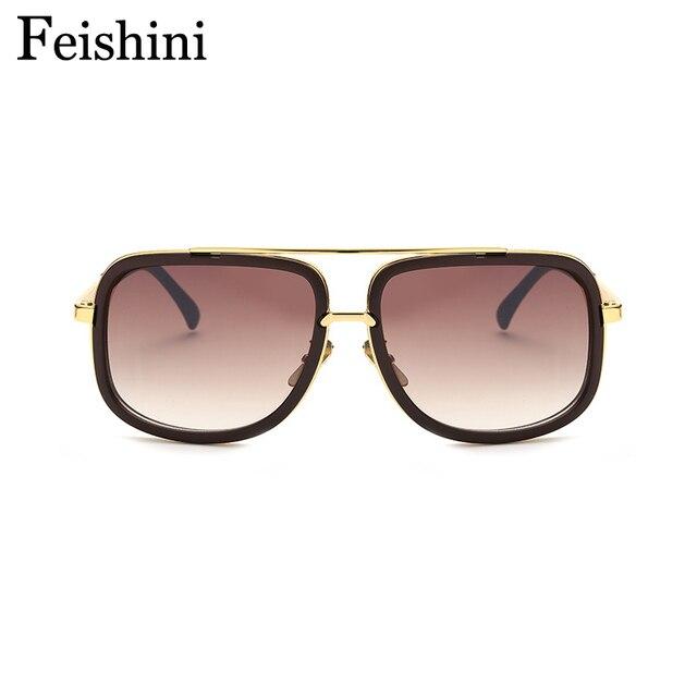 FEISHINI b1828 Boutique Compteurs De Cuivre Grand Bouclier lunettes de Soleil  Hommes Miroir UV400 Classique Marque 7e40b0047b20