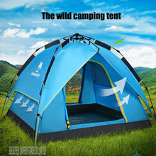 Free by DHL 2PC Hot sale pop up fully automatic 3-4 person 4season anti rain fishing beach hiking outdoor wild camping tent