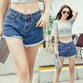 Shorts mulheres verão 2017 moda jeans mulheres shorts jeans estilo remendo calções fêmea magro preto branco azul flash de todos os jogos calções