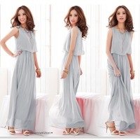 2016 New Fashion Womens Boho Maxi Dress Chiffon Sleeveless Long Summer Beach Casual Maxi Long Dress