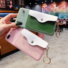 For iPhone 8 Pink Green Candy Color With Card Pocket Phone Case 7 6 6S Plus X XS XR MAX Soft Have Lanyard Back Capa