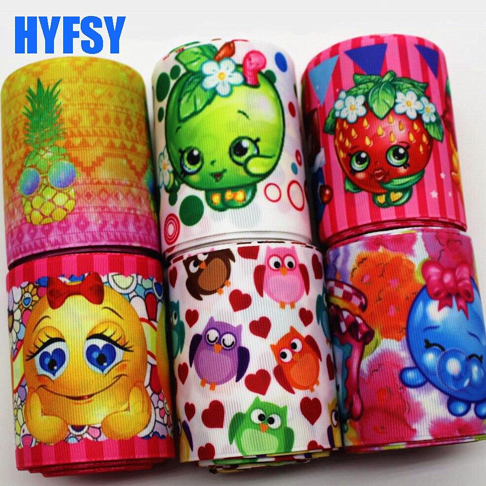Hyfsy 10069 75 мм, мультфильм ленты 5 метров 75 мм DIY подарочная упаковка головные уборы ручной работы ленты в крупный рубчик