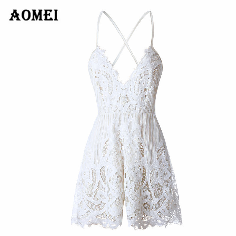 Women Jumpsuits Lace White Sexy Jumpsuit V Neck Romper Spaghetti Strap Combinaison Short Femme Fashion Jumpsuit For Elegant Lady
