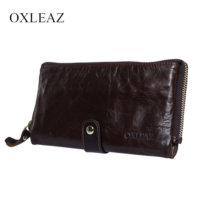 OXLEAZ Soft Zipper Wallet Men Clutch Bag Vintage Hand Bag High Quality Long Genuine Leather Male Wallet Money Card Purse Pouch new oil wax leather men s wallet long retro business cowhide wallet zipper hand bag 2016 high quality purse clutch bag page 8