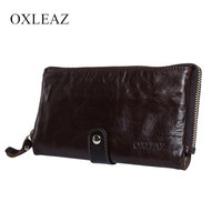 OXLEAZ Soft Zipper Wallet Men Clutch Bag Vintage Hand Bag High Quality Long Genuine Leather Male Wallet Money Card Purse Pouch