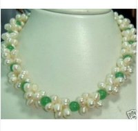 Exquisite Jewellery White Pearl Green Jades Necklace