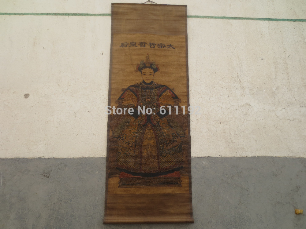 <font><b>Asian</b></font> chinese <font><b>home</b></font> <font><b>decor</b></font> Portraiture,Old scroll painting chinese Qing Dynasty Queen HuangTaiJi