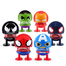 Cartoon Avenger marvel Car Spring Head Shaking Doll car accessories in