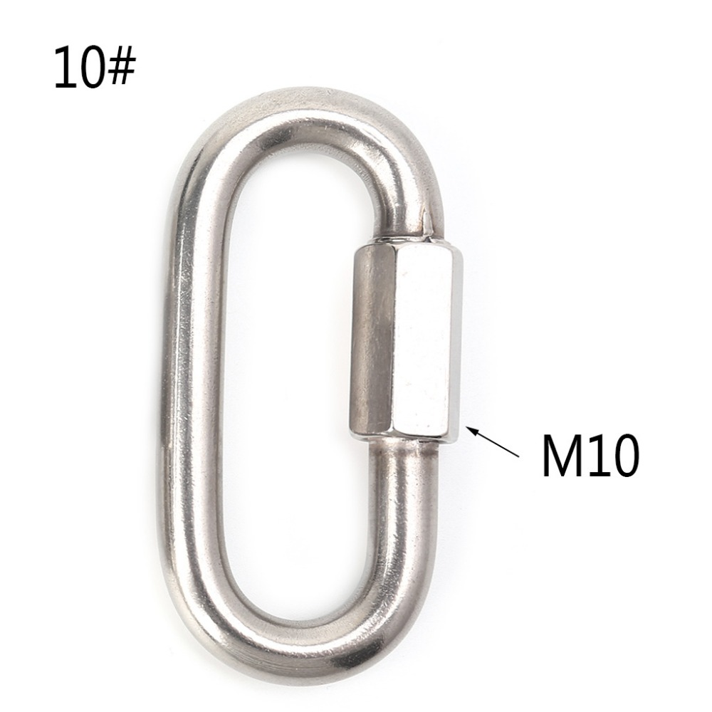 Stainless Steel Screw Lock Climbing Gear Carabiner Quick Links Safety Snap Hook0