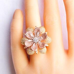 Image 5 - Blucome Luxury Rhinestones Flower Drop Earrings Ring Set Full Zircons Two Tones Jewelry Sets Women Girls D Hooks Ear Accessories