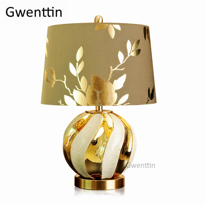Modern Luxury Ceramic Table Lamps Led Stand Gold Desk Light Fixtures for Bedroom Bedside Fabric Lamp