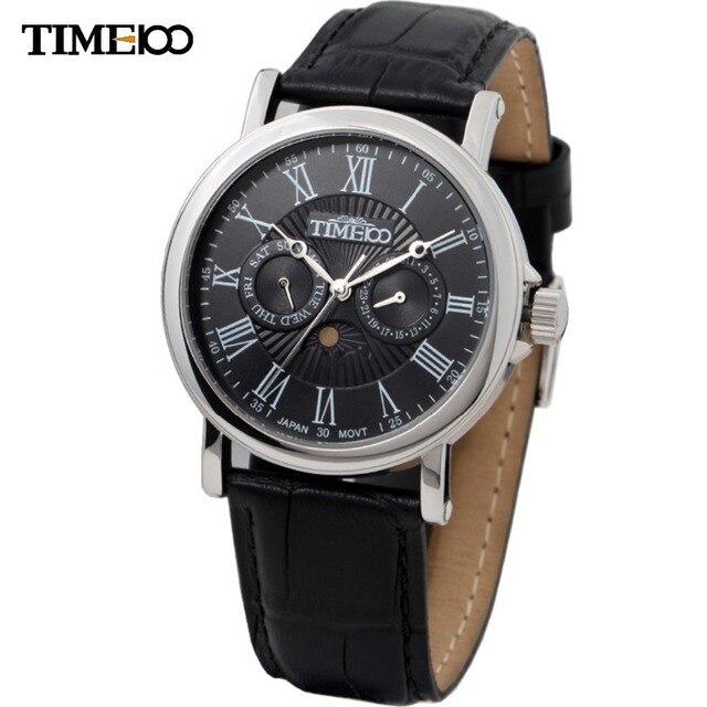 6b26b349d0e Time100 homens relógio Relogio Masculino de couro estilo romano numerais  solar de relógio de quartzo militar