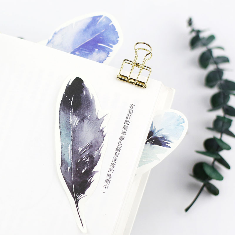 W18 2x Cute Colorful Feather Sticky Notes Memo Pad Planner Bookmark Stickers School Stationery Office Supplies Message Memo Pads Back To Search Resultsoffice & School Supplies
