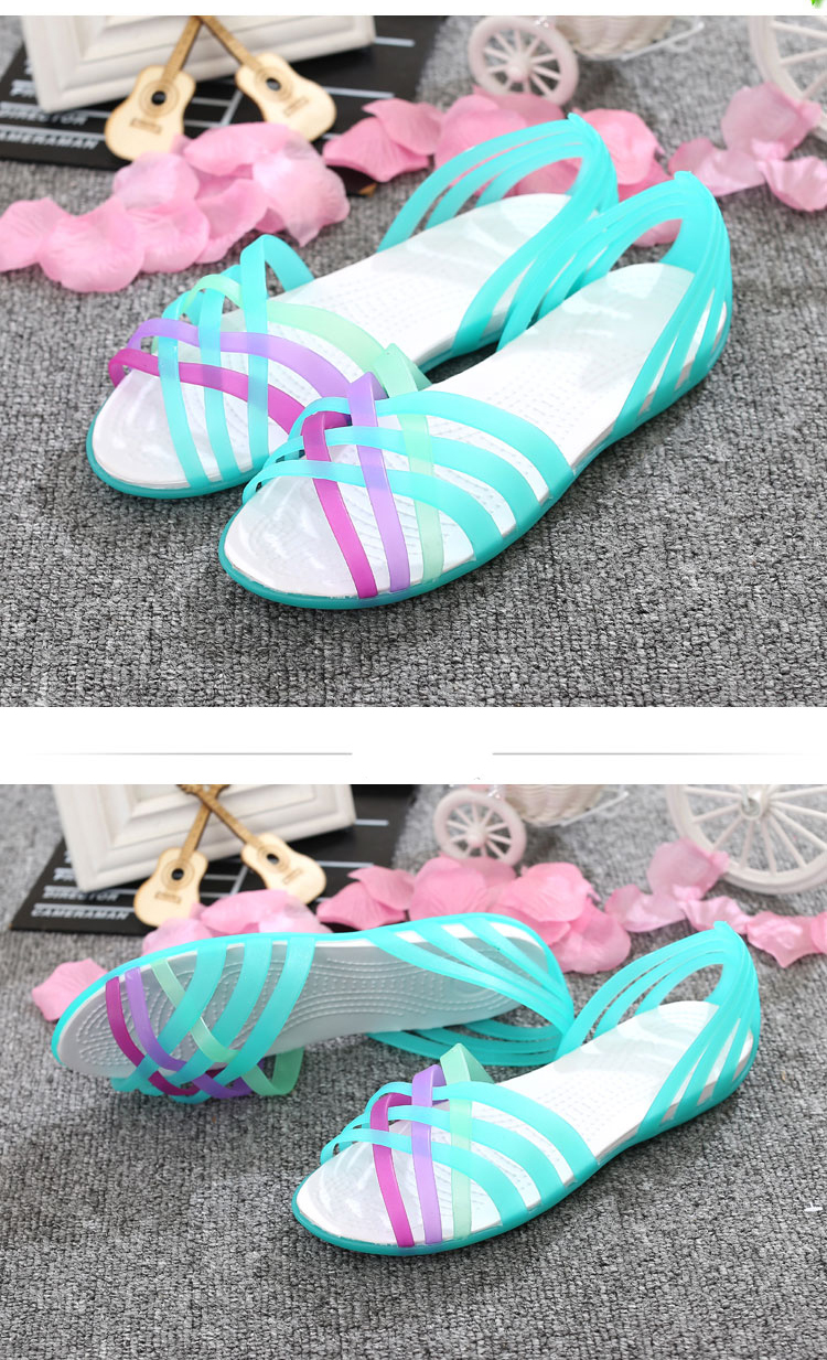 HTB1KVn5X2fsK1RjSszbq6AqBXXaT New Summer Jelly Sandals Women Flat Sandals Peep Toe Beach Shoes Rianbow Ladies Slides Candy Rainbow Flats Sandalia Feminina
