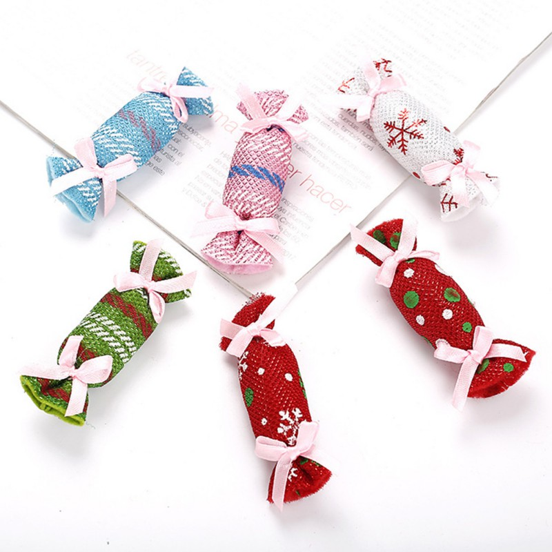 Christmas Pet Candy Shape Toys Pet Cats Chew Toys Interactive Tools for Kitten with Catnip Cats Christmas Supplies Random Color