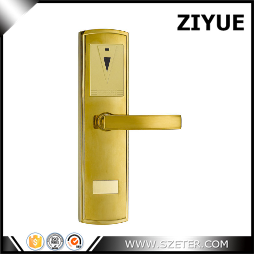 Gold Color RF Hotel Electronic Door Locks RFID for Hotel Guest Room ET105RF-S digital electric best rfid hotel electronic door lock for flat apartment