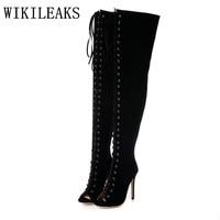 designer versio summer thigh high boots women suede pumps gladiator sandals extreme high heels luxury brand peep toe black shoes
