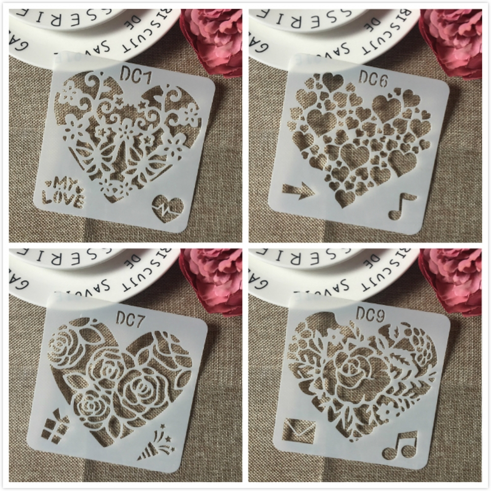4Pcs/Set 13cm Heart Music Love DIY Layering Stencils Painting Scrapbook Coloring Embossing Album Decorative Template