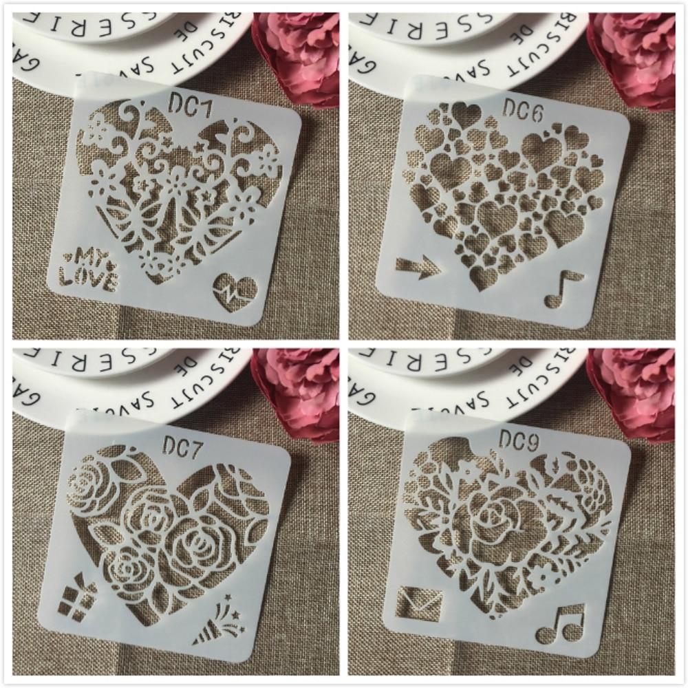 4Pcs/Set 13cm Heart Music Love DIY Layering Stencils Painting Scrapbook Coloring Embossing Album Decorative Template
