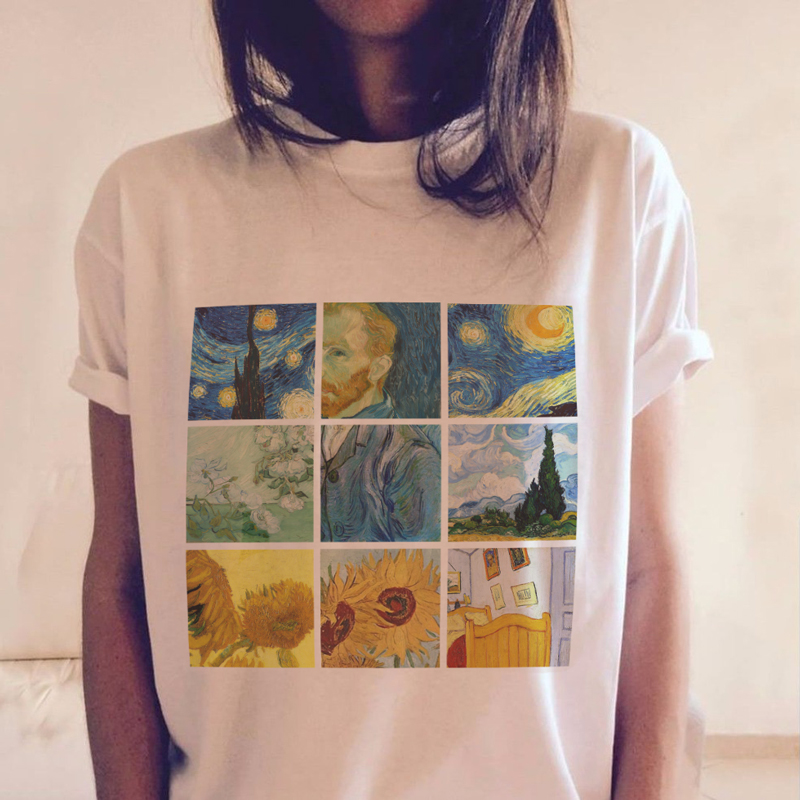 Fashion Women Tshirts Vincent Willem Van Gogh Print T-Shirt Vogue Grunge Aesthetic Outfits Vintage Psychedelic Ukiyoe Tee Tops