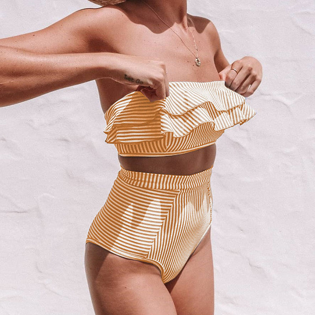 VIEUNSTA Women Sexy Strapless Bikini Swimsuit Ruffled High Waist bikini set Swimwear Striped Wrap Female Biquini Bathing suit