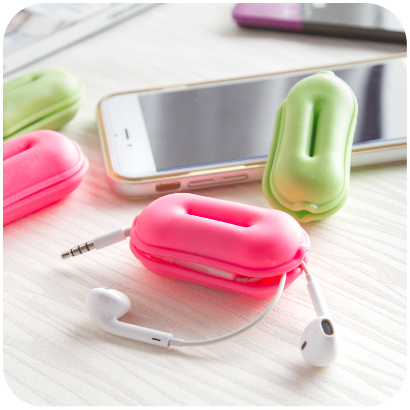 1pc Creative Wrapped Thread Headphone Cable Winder Finisher Headphone Cable Storage Box Storage Organizer Cable Organizer Bag