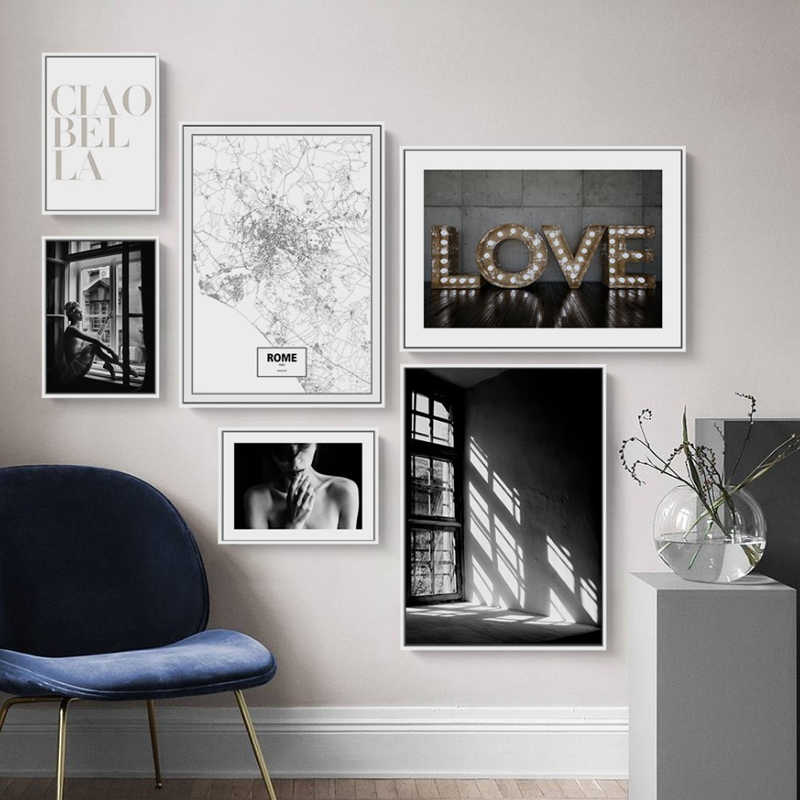 Nordic Scandinavia Interior Designs Love Print Girl Wall Art Canvas Paintings Black And White Posters Pictures Living Room Decor Painting Calligraphy Aliexpress