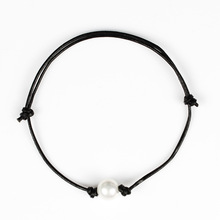 Summer Beach Black Rope Chain Anklets for Women Bohemian Adjustable Pearl Barefoot Anklet Bracelet Jewelry
