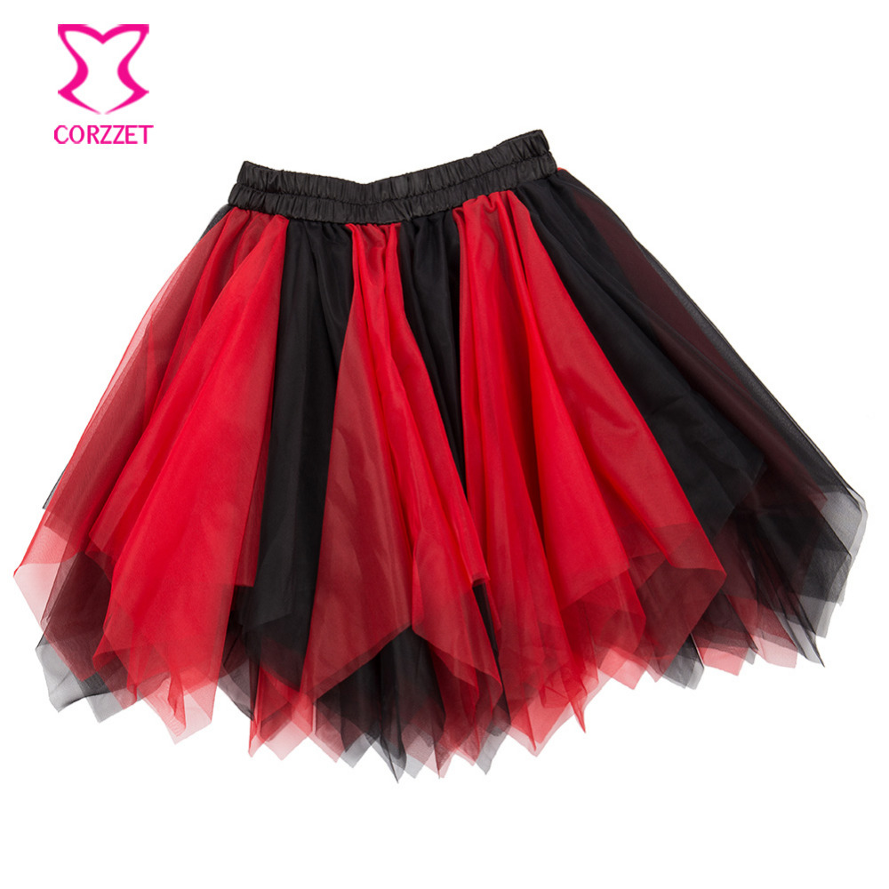 ea6b7efe09 Mix Colors Asymmetrical Ruffle Mesh Tulle Skirt Burlesque Costume Petticoat Sexy  Adult Tutu Skirt Women Skirts Matching Corset-in Skirts from Women's ...
