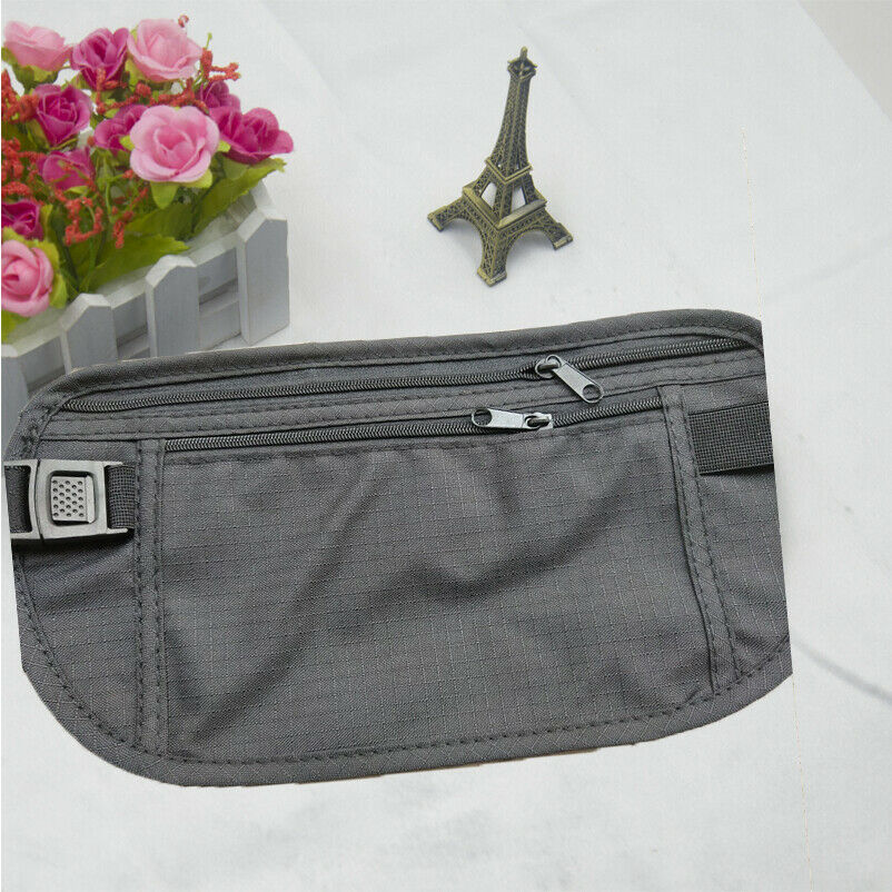 Adjustable Nylon Travel Pouch Hidden Wallet Adjustable Passport Money Waist Belt Bag Slim Secret Security