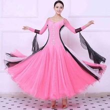 Women's Ballroom Dance Dresses New Custom Made Long Sleeve Waltz Tango Flamenco Costume Adult Ballroom Dancing Dress