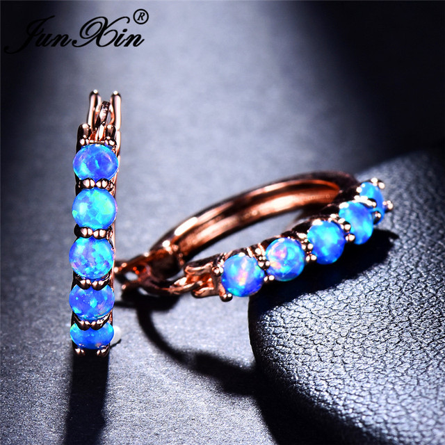 JUNXIN Single Row Blue White Fire Opal Earrings 925 Silver Rose Gold Filled  Rainbow Birthstone Round 1af459884d51