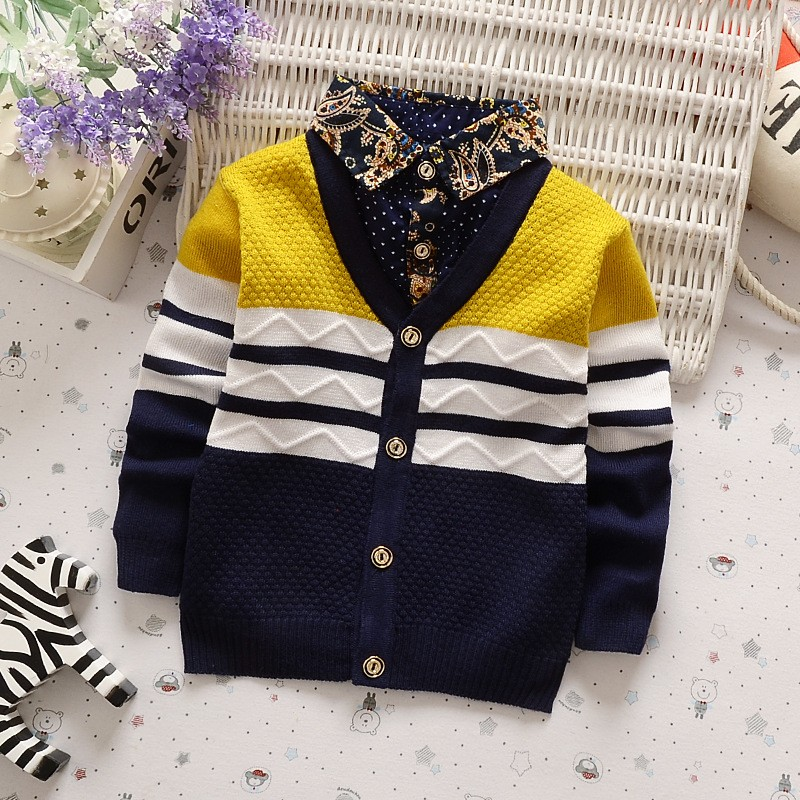 BibiCola New Boys Winter Autumn Sweater Baby Boy Clothes Casual V Neck Cardigan Sweater Children Clothing Outerwear