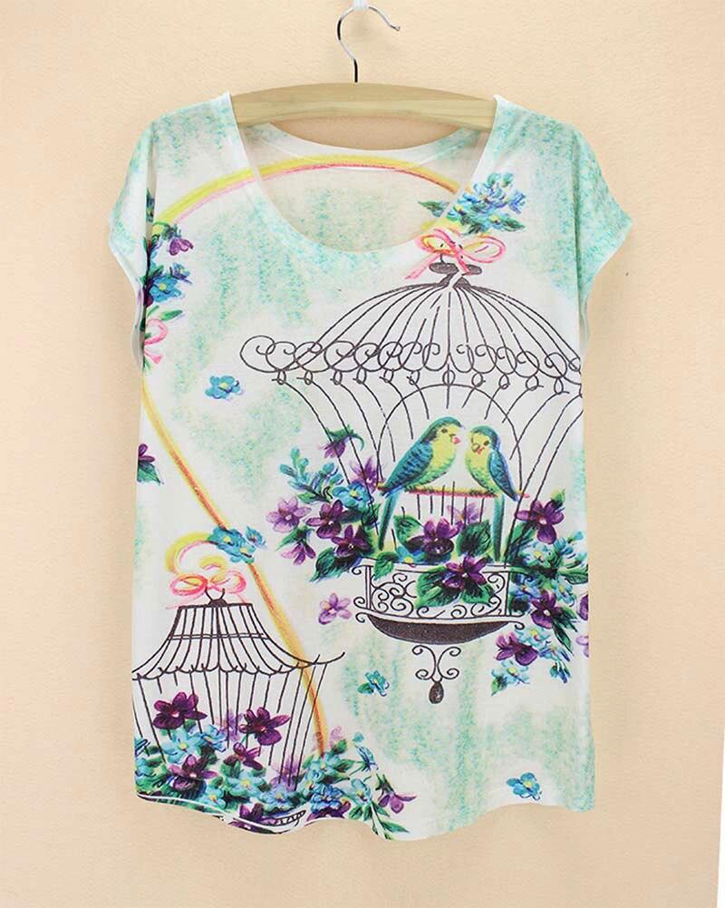 Design t shirt murah - Bird Cage Parrot Purple Flower Vetement Femme Lovely Short Sleeve Summer New Design For Roupa Feminina Cheap Promotion Tshirt