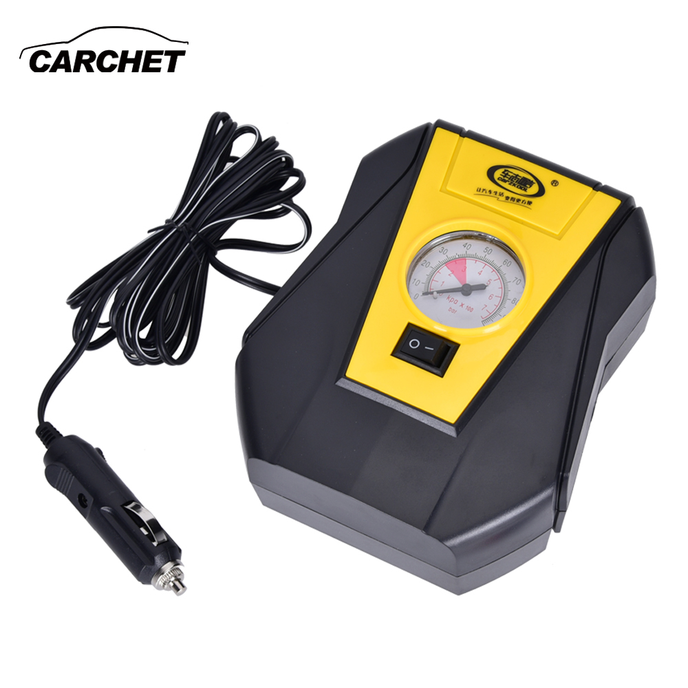 CARCHET Portable Electric Car Tire Inflator Pump 12V Car Air Compressor Pump LED Light Inflatable Pump for Outdoor Emergency dc 12v double cylinder air pump compressor car tire tyre inflator kit