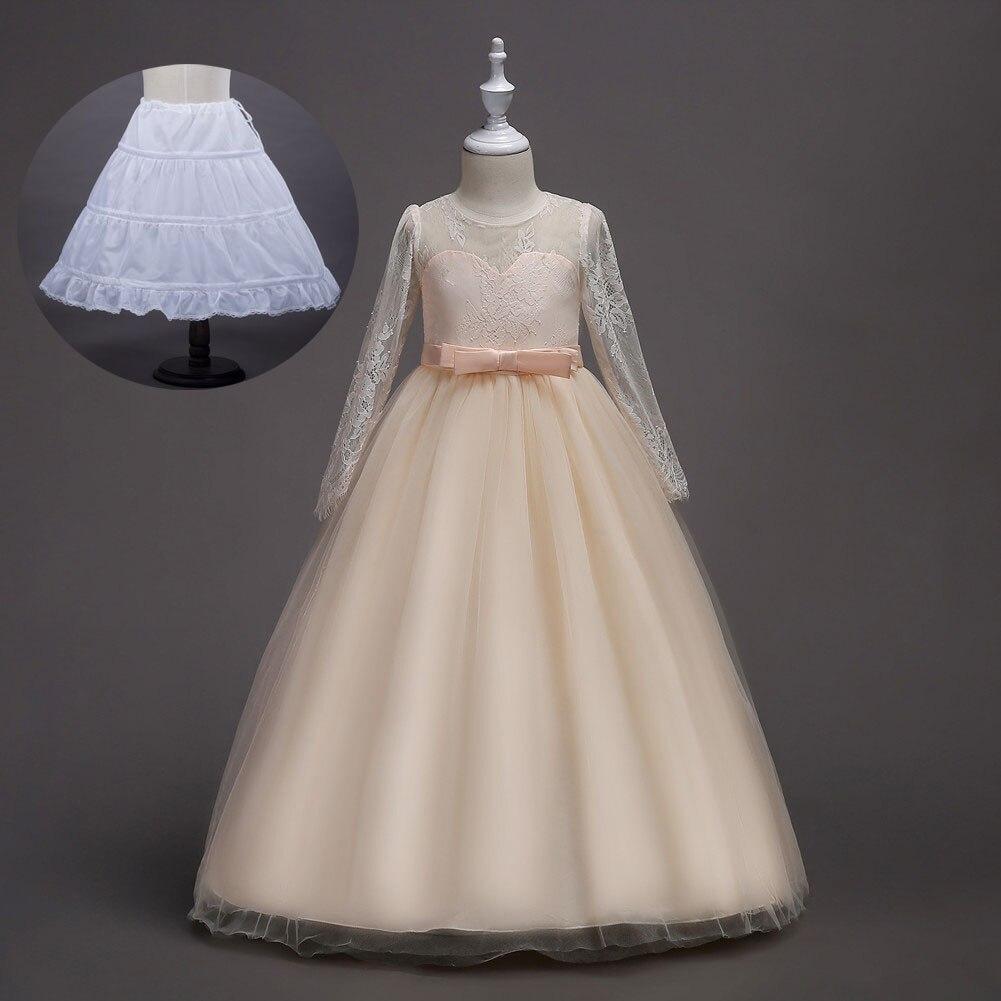 Filles adolescentes princesse filles robe de soirée de mariage formelle ceinturée d'été robe de demoiselle d'honneur à manches longues