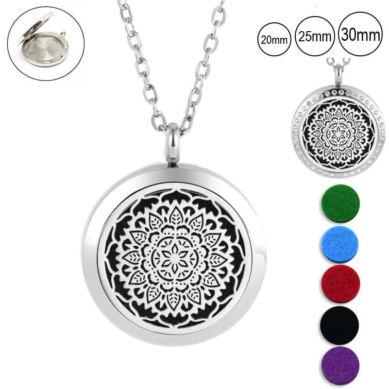 25mm 30mm magnetic essntial oil necklace for women 316L stainless steel aromatherapy pendant diffuser necklace (free with 5pads)
