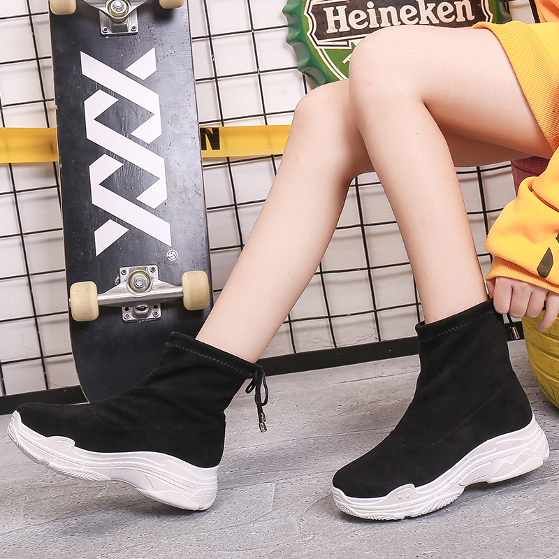 Sooneeya Autumn Ankle Boots Women Shoes Chunky Sneakers Shoelaces Slip-On Winter Snow Cow Suede Woman Shoes Botas Mujer Size 40 2