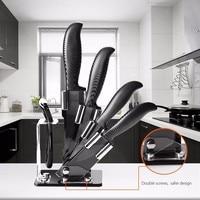 KF 2 5 Pieces Black Blade Ceramic Knife Set Multi function Ergonomic Chef Knife Peeler Slicer