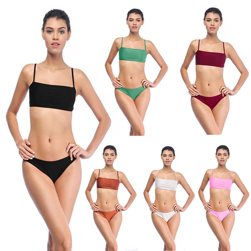 2019 XXXL plus size sexy Bikini Set Women Solid Simple Summer Beachwear Two Pieces Swimsuit Biquini Push Up female Bathing Suit