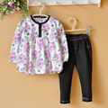 Baby Girl Clothes Sets Infant Clothing Set Baby Girl Dresses Set Baby Clothes Jeans Print Long Sleeve 2016 New Fashion