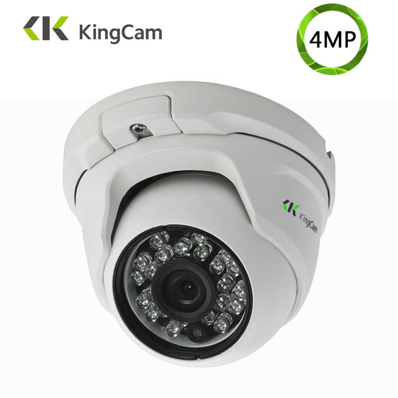 Kingcam 4MP Keamanan Audio IP Camera Logam Anti Vandal 48 V POE Sudut Lebar 1080 P ONVIF CCTV Surveillance dome Mikrofon Ip Cam