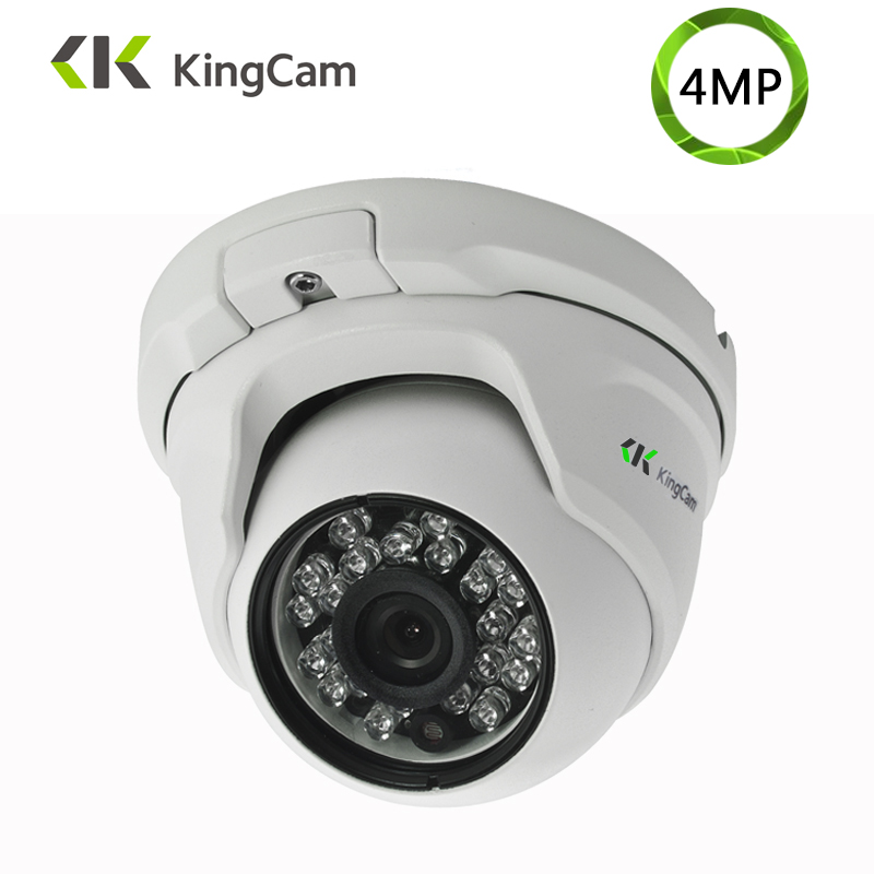Câmera áudio do ip da segurança de kingcam 4mp metal anti-vândalo 48 v poe grande angular 1080 p onvif cctv vigilância dome microfone ip cam