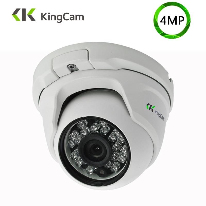 KingCam 4MP Segurança Áudio POE IP Câmera De Metal Anti-vandalismo 48 v Wide Angle 1080 p ONVIF Vigilância CCTV microfone cúpula IP Cam