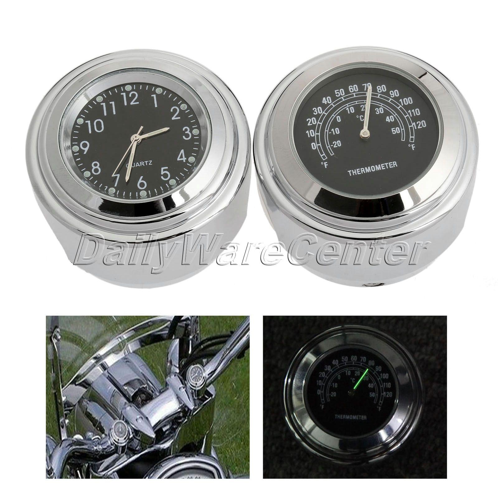 """7/8 """"1"""" moottoripyöräpyörän ohjaustanko mustavalintakello + musta lämpömittari alumiinia Honda Harley Yamaha Kawasaki vedenpitävälle"""