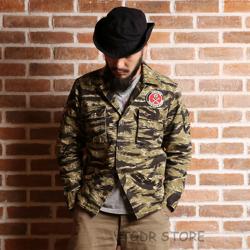 Non Stock Golden Tiger Camo Shirt Vintage Military Tiger Striped Combat Fatigue Uniform Jacket