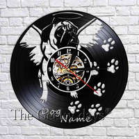 1Piece English Bulldog Pug Customize Dog Name Clock Lovely Puppy Pet Dog Wall Art Decorative Wall Clock Vinyl Record Wall Clocks