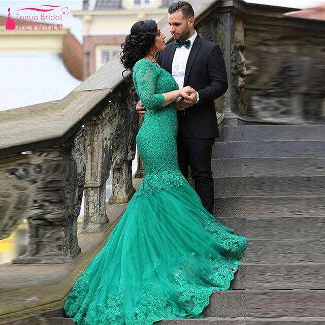 Dark Green Wedding Dresses Mermaid Long Sleeve Lace Bridal Dress V ...